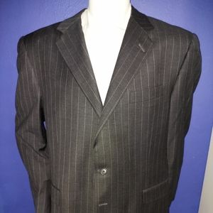 Hickey Freeman Charcoal Grey Striped Coat 46R